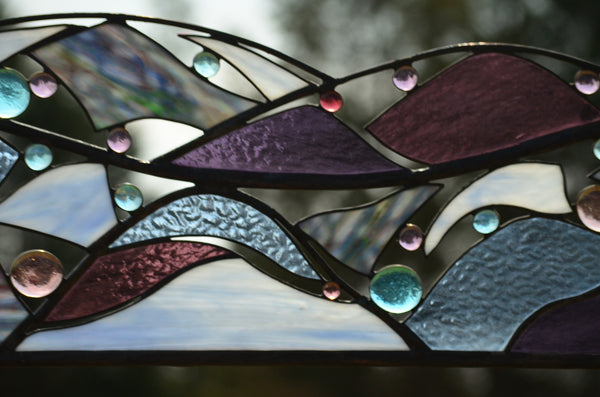 Contemporary Abstract Stained Glass Window or Wall Art