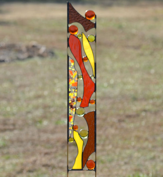 Drought Tolerant Stained Glass Outdoor Garden Sculpture - 'Garden Party'