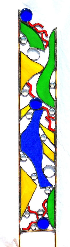 Stained Glass Yard Sculpture - 'Garden Talk'