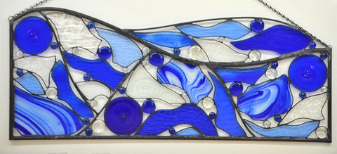 Contemporary Stained Glass Art - 'Blue Horizons'