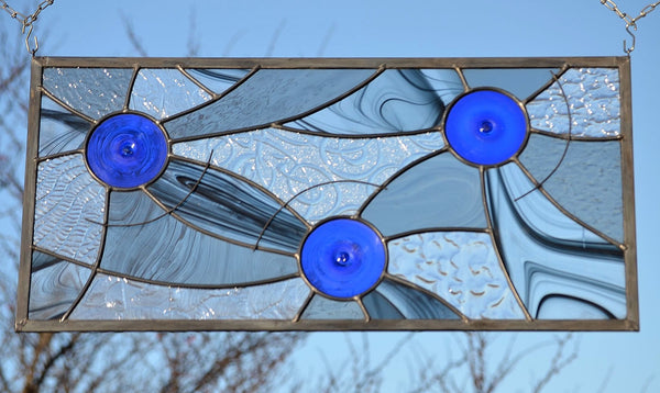 contemporary stained glass panels by Windsong Glass Studio