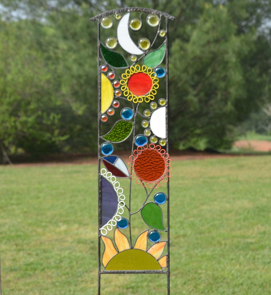 Large Stained Glass Garden Decoration · Decorative Glass Garden Stakes ...