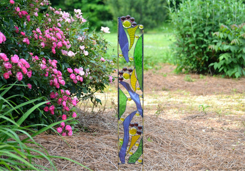 Stained Glass Garden Sculpture in Purple, Yellow, Green Glass. 'Fanciful Flowers'