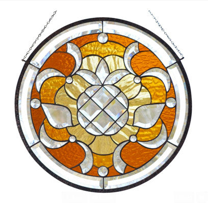 Large Stained Glass Window Hanging with Bevels, Amber, Chocolate and Clear Glass