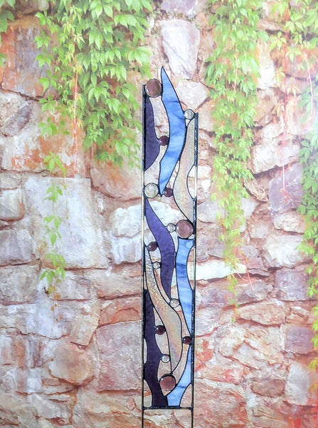 Abstract Stained Glass Yard Art - 'Misty Morn'