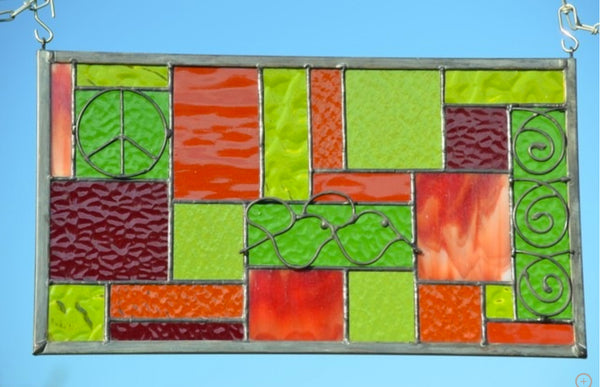 Stained Glass Window Panel in Boho Style