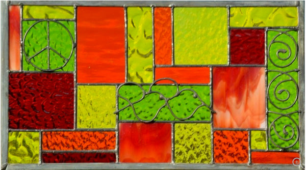 Stained Glass Window Panel in Red, Orange, Yellow, Lime