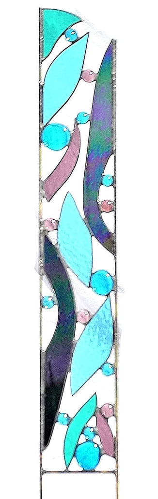 Stained Glass Garden Stake - Peacock Feathers