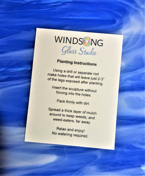 Windsong Glass Studio blue garden art