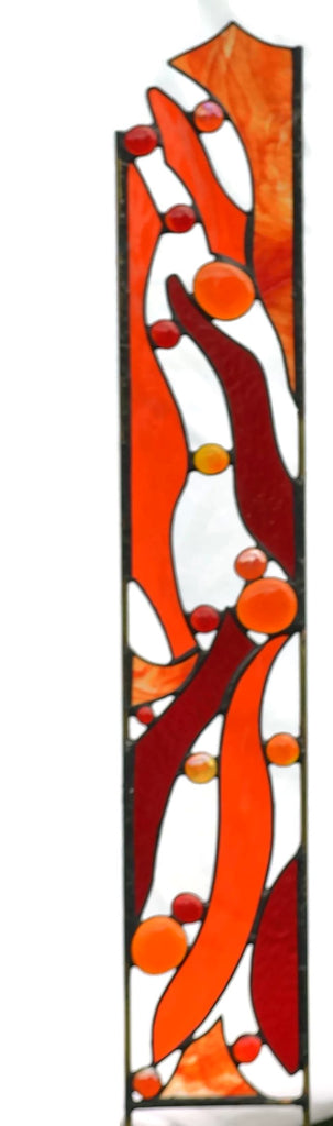 Stained Glass Garden Stake in Red and Orange