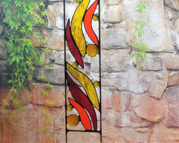 outdoor stained glass yard art by Windsong Glass Studio