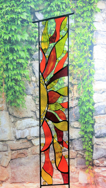 metal and glass yard art by Windsong Glass Studio
