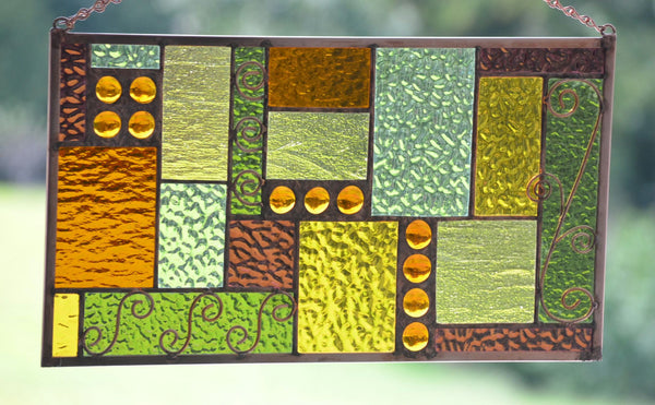 Stained Glass Window Treatment with Copper Accents -  'Coppery Fall'