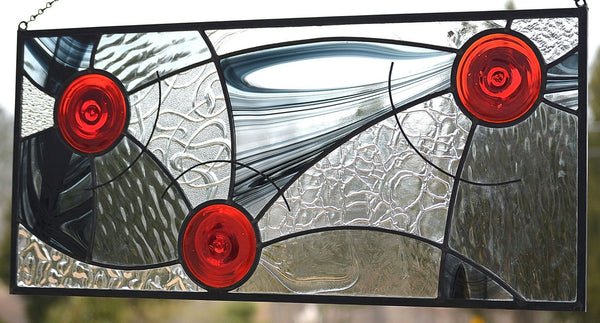 Hanging Contemporary Stained Glass Window Panel Designed for Privacy