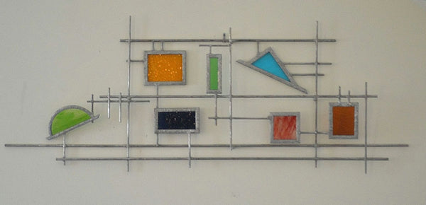 3D Metal Wall Art with Stained Glass in Rainbow Colors