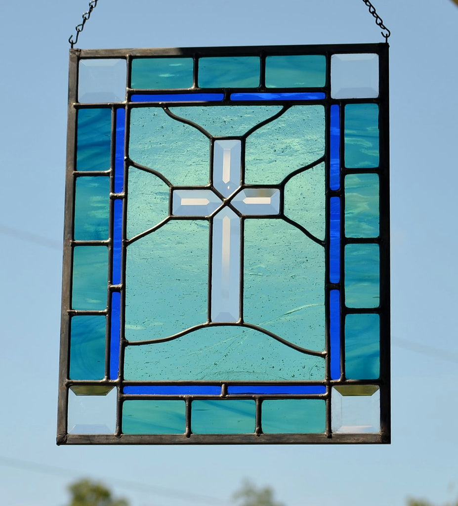 Religious Stained Glass Art - Beveled Cross Window – Windsong Glass ...