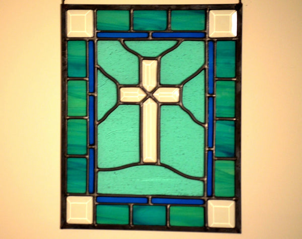 windsong glass studio Stained Glass Cross