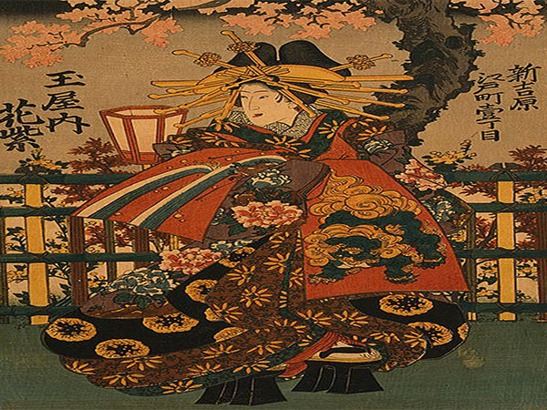 New Yoshiwara: Shigeoka from Okamotoya house on Kyo Street  Canvas Wall Art  - Large One Panel