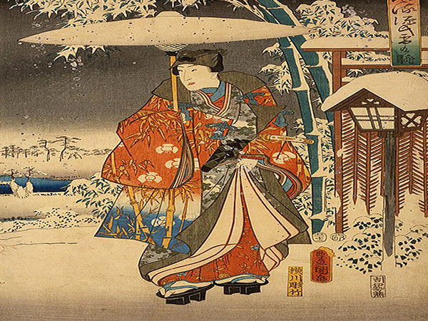 Toyokuni Utagawa, Viewing in the Snow Canvas Wall Art - Large One Panel