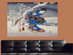 Toyokuni Utagawa -Viewing in the Snow Canvas Wall Art - Large One Panel