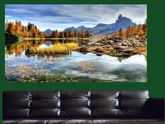 Italian Lake Mountain Canvas Wall Art - Large One Panel