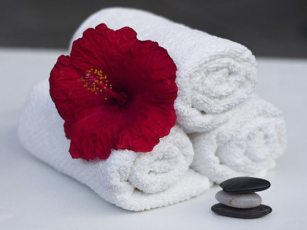 Flower Rocks Towels Spa Canvas Wall Art - Large One Panel