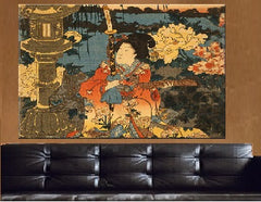 Fukigusa sono yuran, Visiting a Flower Garden Canvas Wall Art - Large One Panel