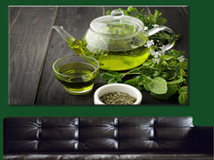 Green Tea Canvas Wall Art - Large One Panel