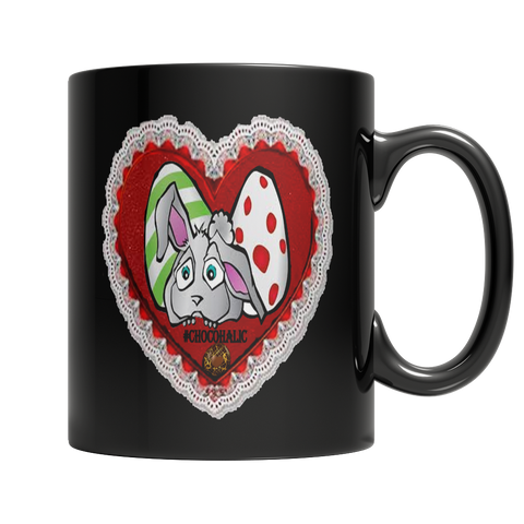 Easter Valentine Moms Day Heart Bunny Dark Mug