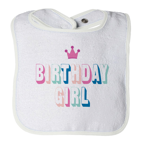 Birthday Girl White Baby Bib