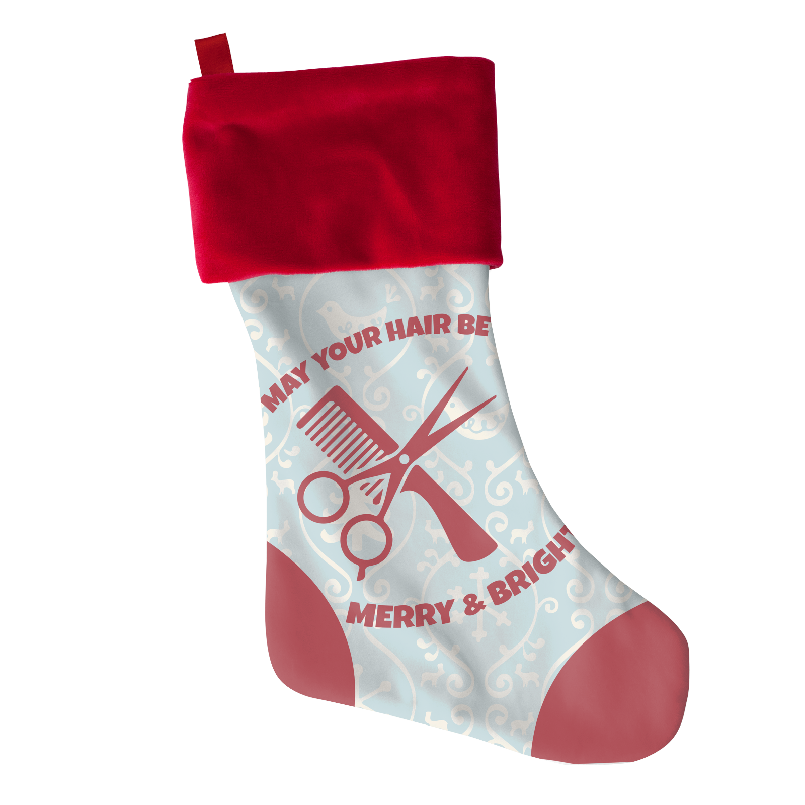 Hair Merry Bright Christmas Stocking