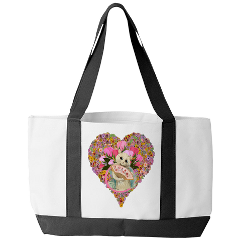 Valentine's Day Cat Heart Tote Bag