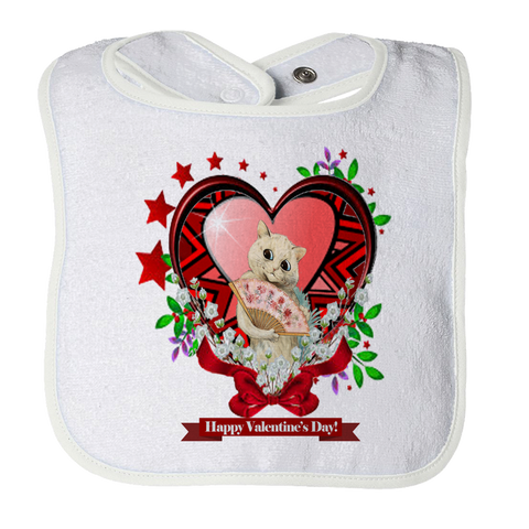 Valentine's Day Cat Heart Stars Baby Bib