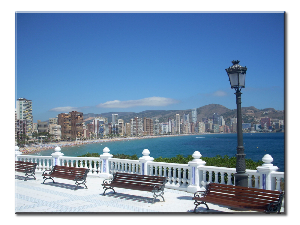 Benidorm Skyline In Spain | Spanish Canvas Wall Art  | One Panel Canvas Wall Art