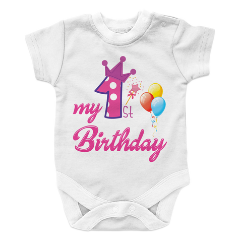 My First Birthday - GIRL - LIGHT Baby Onesie