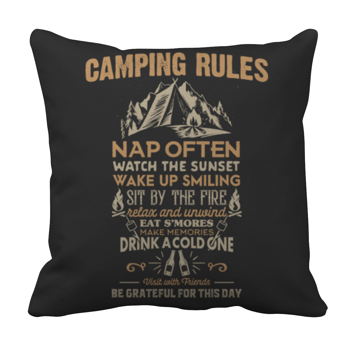Camp Rules Pillow Case