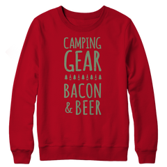 Camping Gear Bacon And Beer Crewneck Fleece
