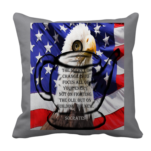Veterans Day - Eagle - US Flag - Socrates - Teapot - Pillow Case