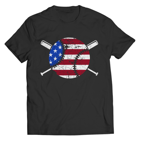Baseball - USA Flag Unisex Tee Shirt