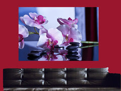 Purple Orchids Stones Spa Canvas Wall Art - Large One Panel
