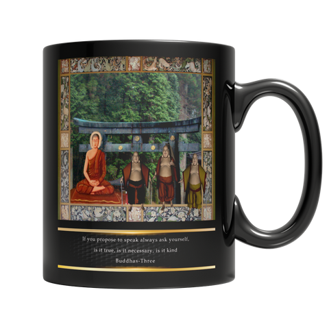 Buddhas at Temple Mug -  Black