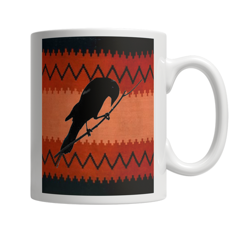 Raven with Red and Black Hopi Rug Background on White Coffee Mug