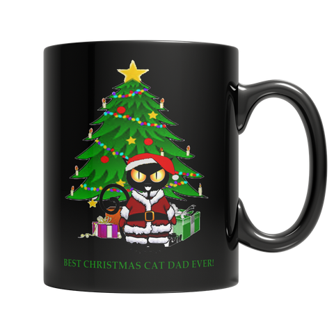 Best Cat Dad Ever Christmas Mug - Black