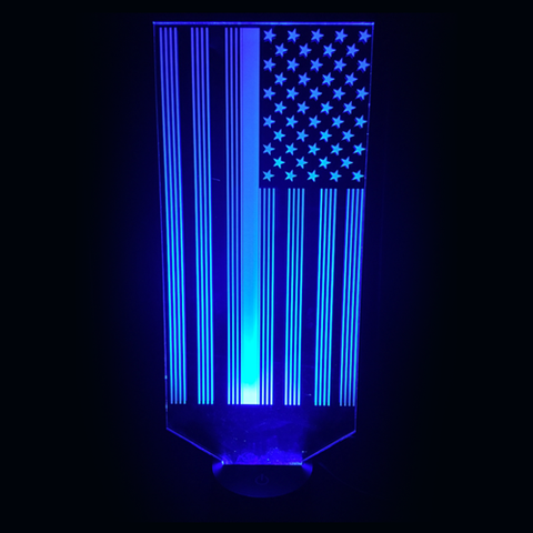 3D Night Light - Blue Line Flag 1
