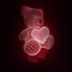 3D Night Light - Bear Heart