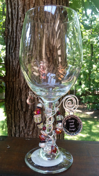 """Sixty and Still Sexy!"" Wine Glass"