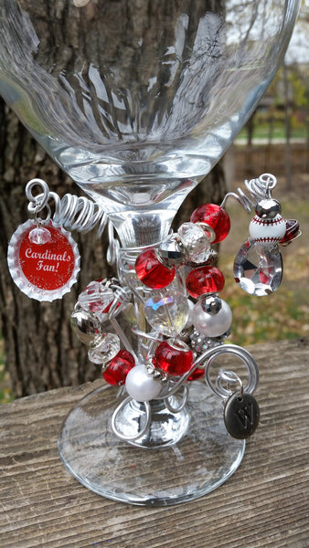St Louis Cardinals Beaded Wine Glass