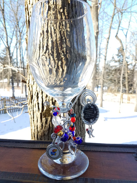 Teacher/KU Wine Glass