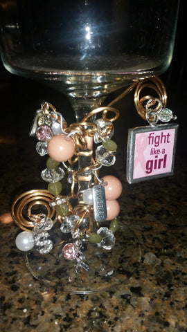 """Fight Like A Girl!"" Wine Glass"