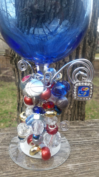 KU Basketball Wine Glass